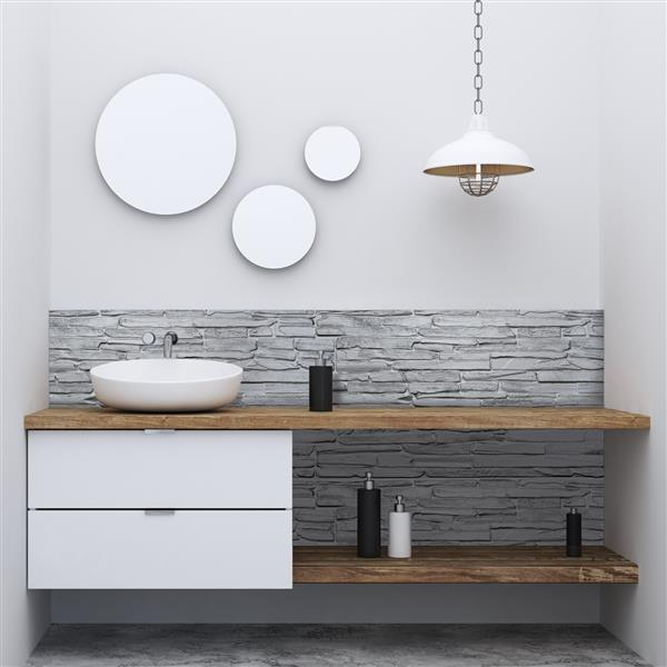 Dundee Deco PVC 3D Wall Panel - Grey Faux Flagstone - 3.2' x 1.6'