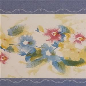 Dundee Deco Wallpaper Border - Cerulean Blue Yellow Red White Flowers