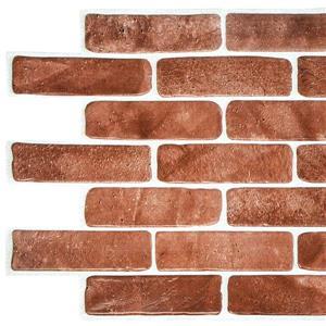 Vintage Brown Faux Brick 3D Wall Panel - 3.4' x 1.6'