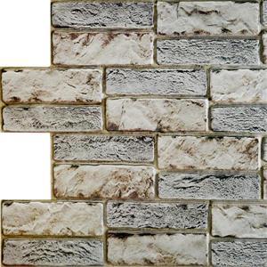 Dundee Deco PVC 3D Wall Panel - Dark Beige Grey Old Brick - 3.1' x 1.6'