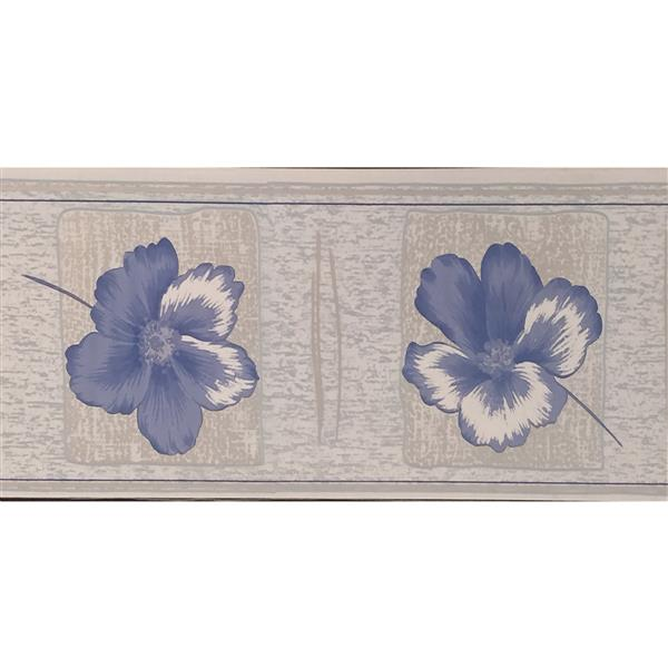 Dundee Deco Wallpaper Border - Purple Flowers/Light Brown Squares Floral