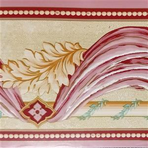 Dundee Deco Wallpaper Border - Pink Curtains Leaves Distressed Yellow