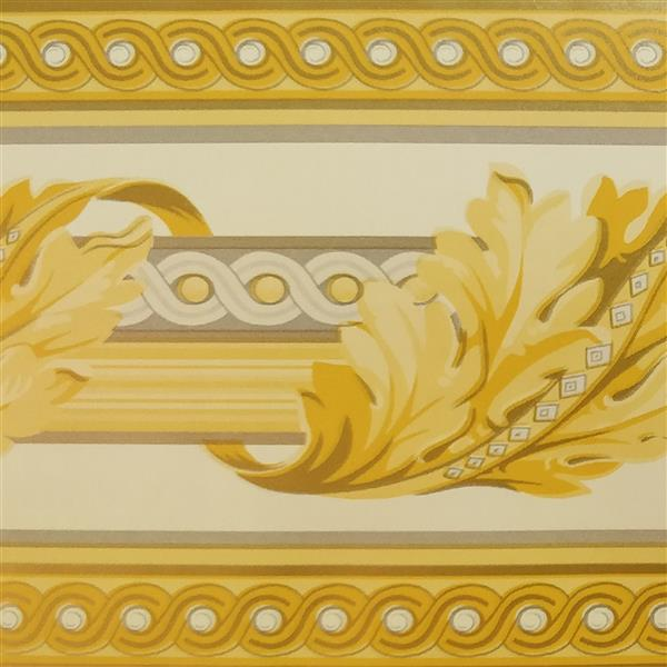 Dundee Deco Wallpaper Border - Yellow Leaves Wrapped Abstract