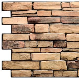 Dundee Deco PVC 3D Wall Panel - Brown Faux Slate - 3.2' x 1.6'