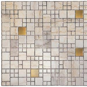 3D Wall Panel - Beige Marble with Gold Squares
