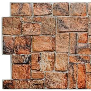 PVC 3D Wall Panel - Brown Red Faux Stone - 3.2' x 1.6'