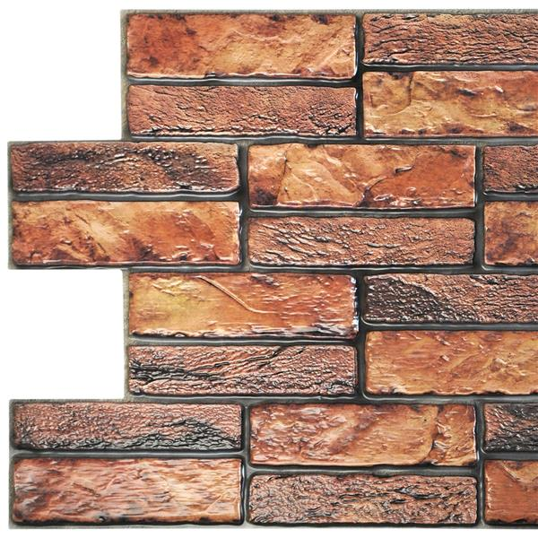 Dundee Deco PVC 3D Wall Panel - Brown Red Faux Old Brick - 3.1' x 1.6'