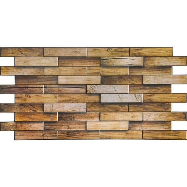 Dundee Deco PVC 3D Wall Panel - Brown Walnut Wood - 3.2' x 1.6'