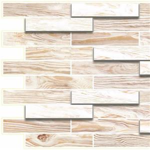 PVC 3D Wall Panel - Off White Faux Oak Steps - 3.2' x 1.6'