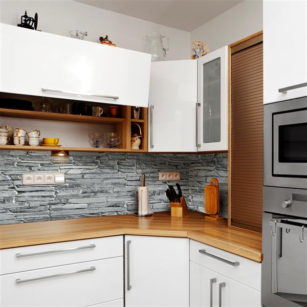 Dundee Deco PVC 3D Wall Panel - Grey Faux Slate - 3.2' x 1.6'