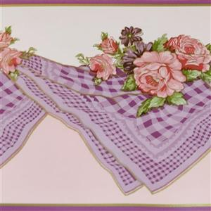 Dundee Deco Wallpaper Border - Pink Bloomed Roses/Lilac Table Cloth