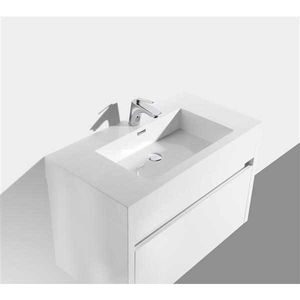 Meuble-lavabo Selena avec miroir, 36po blanc
