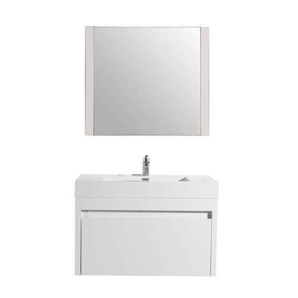 GEF Selena Vanity Set with Mirror, 36-in White