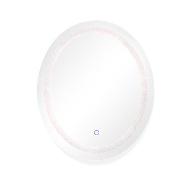 """Miroir ovale avec éclairage à DEL Cristal Edison, 30"""" x 36"""""""