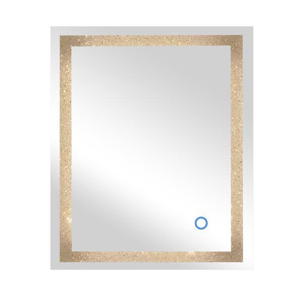 Dyconn Faucet Edison Crystal, 30 X 36 Gold Framed Mirror