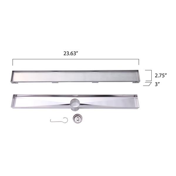 """BOANN Linear Shower Drain - 24"""" - Stainless Steel"""