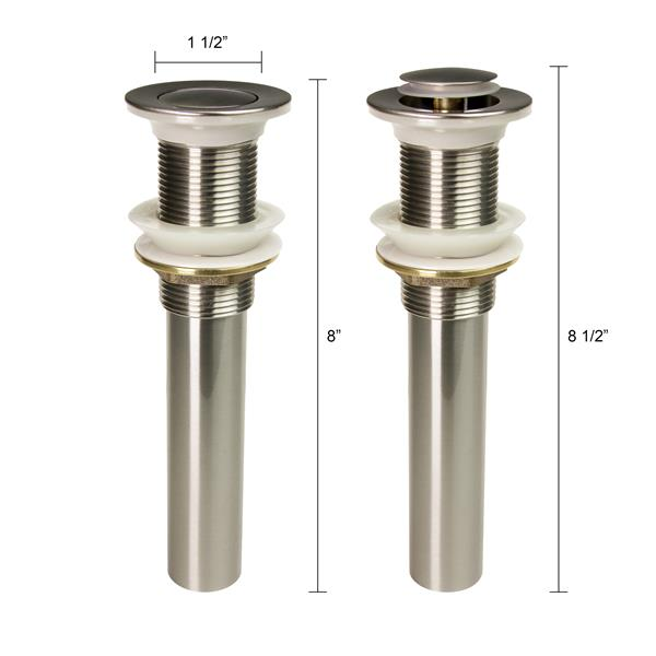 Dyconn Faucet Push Pop-Up Drain without Overflow - Brushed Nickel