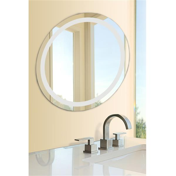 Dyconn Faucet Edison Round LED Wall Mounted Backlit Vanity Bathroom Mirror