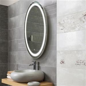 Miroir de salle de bain ovale avec éclairage à DEL «Edison»