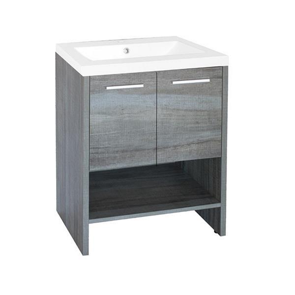 Luxo Marbre Relax Single Sink Vanity - 2 Doors -  24.25-in - Blue Gray.