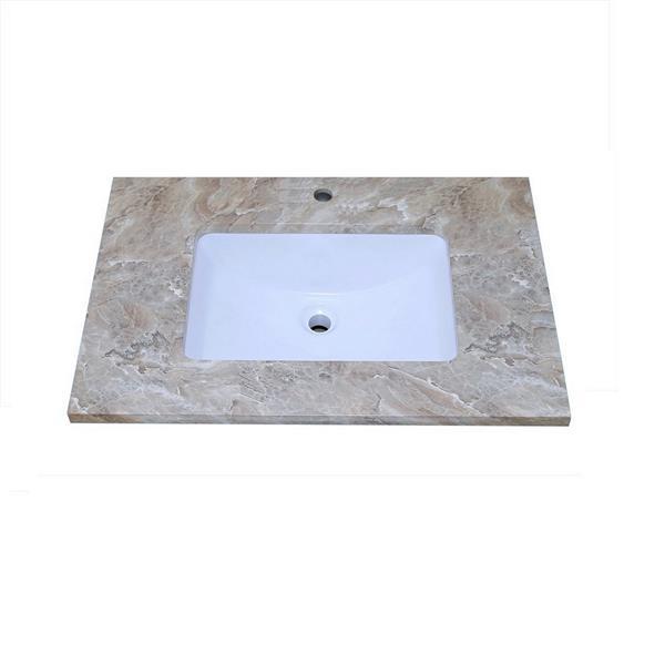 """Dessus de meuble-lavabo simple, 25"""" x 22"""", quartz, brun"""