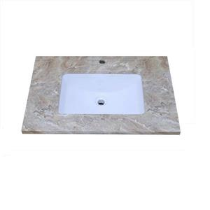 Luxo Marbre Vanity Top - 25-in x 22-in - Quartz - Veined Brown.