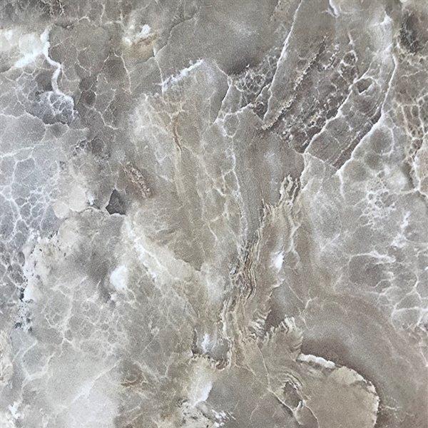 Luxo Marbre Single Sink Vanity Top - 37-in x 22-in - Quartz - Veined Beige.