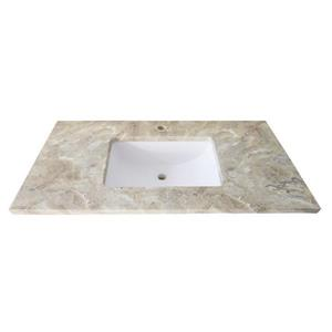 Luxo Marbre Single Sink Vanity Top - 49-in x 22-in - Quartz - Veined Brown.