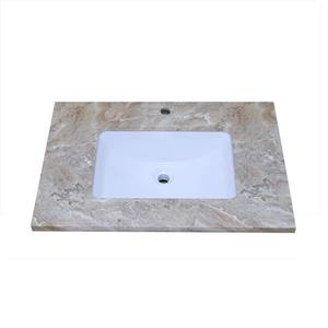 Luxo Marbre Vanity Top - 31-in x 22-in - Quartz - Veined Brown.