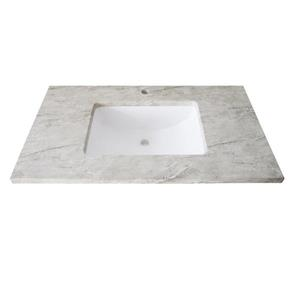 Luxo Marbre Single Sink Vanity Top - 37-in x 22-in - Quartz - Veined Grey.