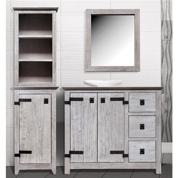 Luxo Marbre 1-Door Side Cabinet and Shelf -19-inx 69-in- Wood - White- 2 pcs.
