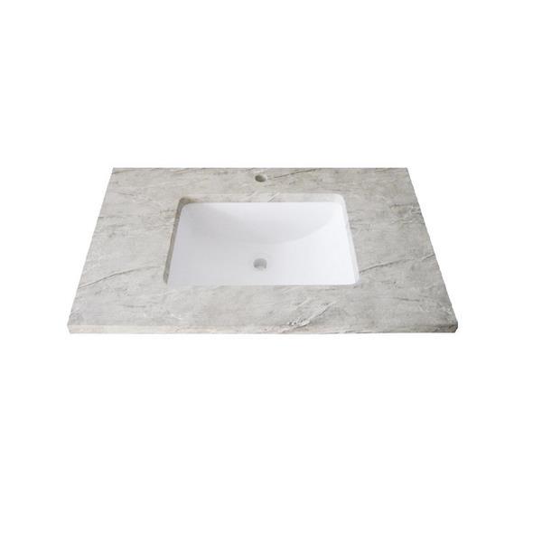 """Dessus de meuble-lavabo simple, 25"""" x 22"""", quartz, gris"""