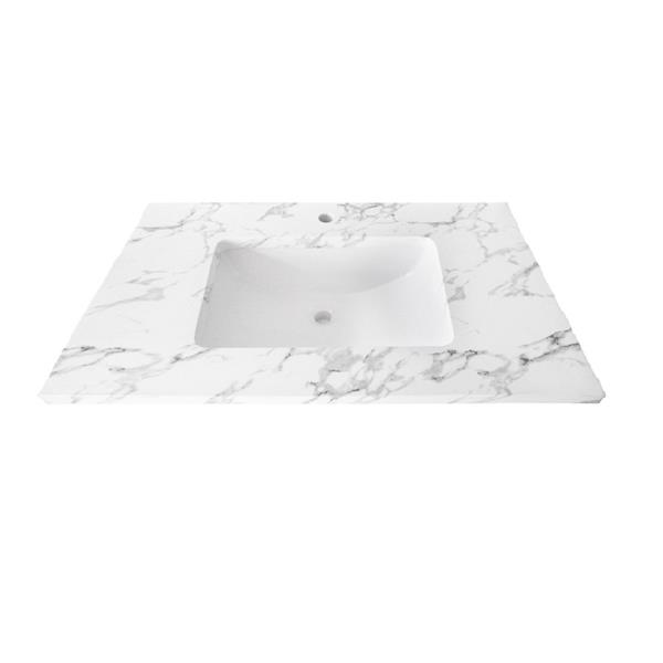 Luxo Marbre Single Sink Vanity Top - 49-in x 22-in - Quartz - Veined White.