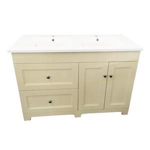 Luxo Marbre Classic Double Sink Vanity - 2 Doors - 49-in - Beige.
