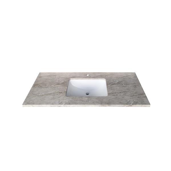 """Dessus de meuble-lavabo simple, 49"""" x 22"""", quartz, gris"""