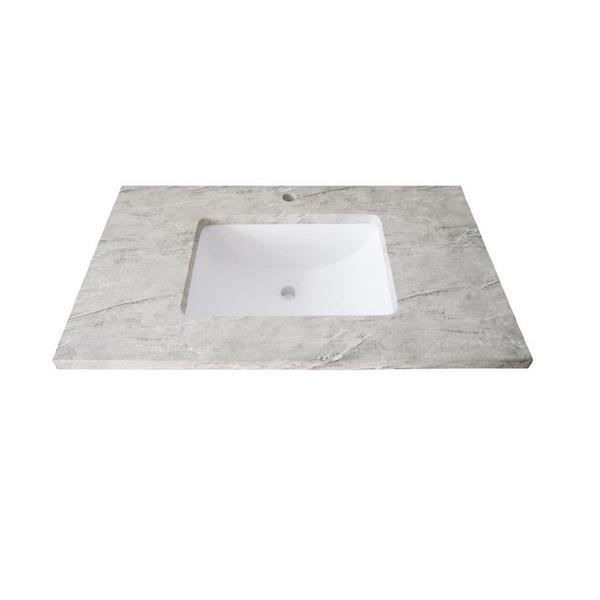 Luxo Marbre Single Sink Vanity Top 31 In X 22 In Quartz Veined Grey 626954250768 Rona