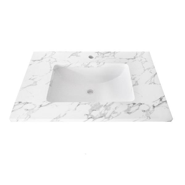 Luxo Marbre Single Sink Vanity Top - 31-in x 22-in - Quartz - Veined White.