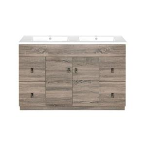 Luxo Marbre Eco Vanity - 2 Doors - 4 Drawers - 49-in - Wood Veneer - Brown.