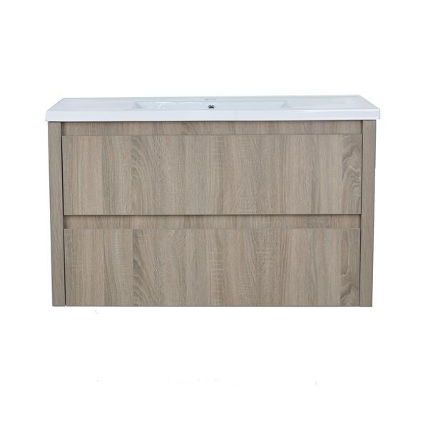 Lukx Modo David Wall Mount Single Sink Vanity Set - 40-in - Beige