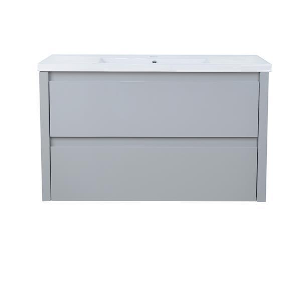 Lukx Modo David Wall Mount Single Sink Vanity Set - 40-in - Grey