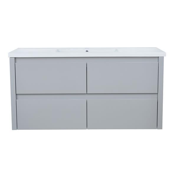 Lukx Modo David Wall Mount Single Sink Vanity Set - 48-in - Grey
