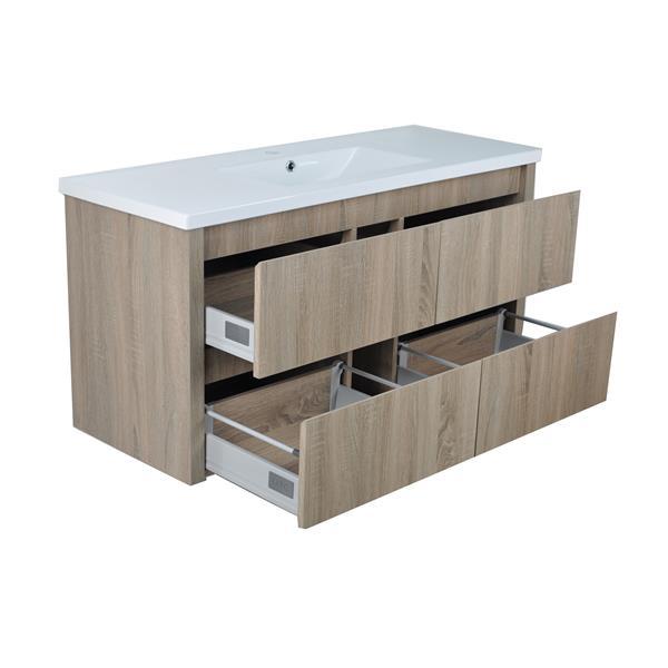 Lukx Modo David Wall Mount Single Sink Vanity Set - 48-in - Beige