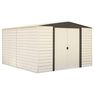 Arrow Dallas® Vinyl Steel Storage Shed - 10' x 12' - Off-White