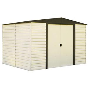 Arrow Dallas® Vinyl Steel Storage Shed - 10' x 8' - Off-White