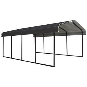 Arrow Steel Carport -12' x 20' x 7' - Black/Charcoal