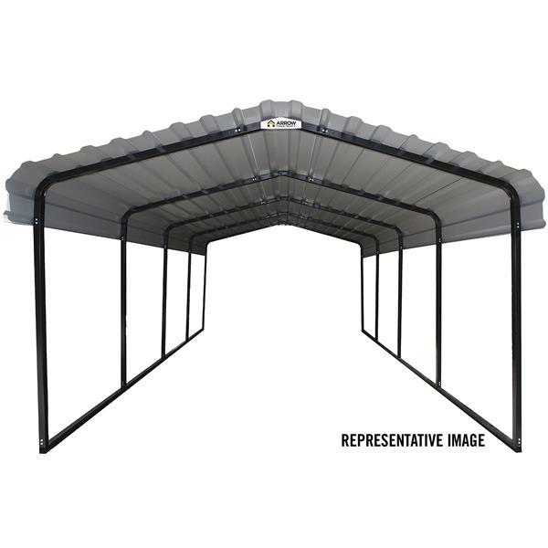 Arrow Steel Carport - 12' x 24' x 7' - Black/Charcoal