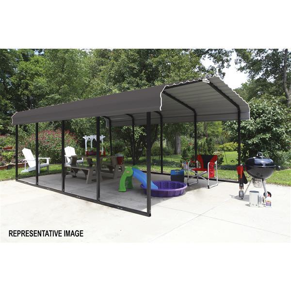 Arrow Steel Carport - 12' x 29' x 7' - Black/Charcoal