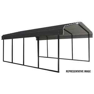 Arrow Steel Carport - 12' x 29' x 7' - Black/Charcoal