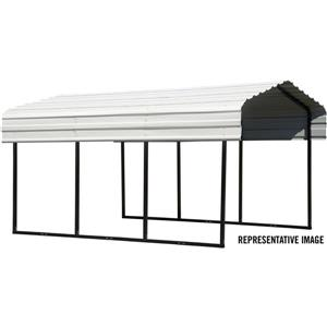 Arrow Steel Carport - 10' x 24' x 7' - Black/Eggshell