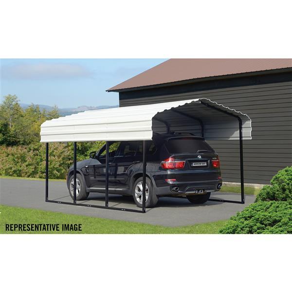 Arrow Steel Carport - 10' x 29' x 7' - Black/Eggshell